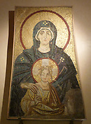 Enthroned Virgin and Child. Replica of the Apse Mosaic from the church of Hagia Sophia at Constantinople, 867AD.