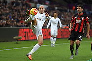 Jonjo Shelvey of Swansea city in action. Barclays Premier league match, Swansea city v AFC Bournemouth at the Liberty Stadium in Swansea, South Wales  on Saturday 21st  November 2015.<br /> pic by  Andrew Orchard, Andrew Orchard sports photography.