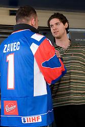 Dejan Zavec and Luka Vidmar at meeting of Slovenian Ice-Hockey National team and boxer Dejan Zavec - Jan Zaveck alias Mister Simpatikus, on April 15, 2010, in Hotel Lev, Ljubljana, Slovenia.  (Photo by Vid Ponikvar / Sportida)