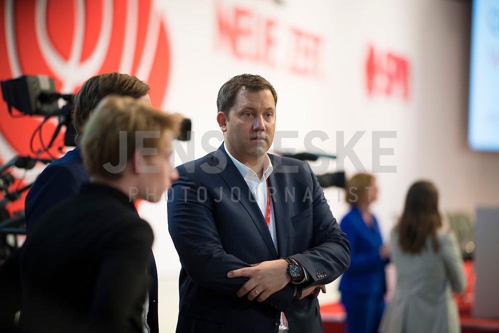 DEU, Deutschland, Germany, Berlin, 06.12.2019: SPD-Generalsekretär Lars Klingbeil beim Bundesparteitag der SPD im CityCube.