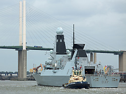 © Licensed to London News Pictures. 20/05/2016. HMS Duncan approaching the QEII Bridge Type 45 Destroyer HMS Duncan has arrived in London for a port visit. The 152 metre long Royal Navy ship is visiting London for the time. She was commissioned in to the Navy in 2013. Credit: Rob Powell/LNP