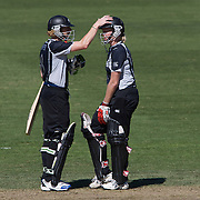 Captain Haidee Tiffen encourages Kate Pulford (right) during the match between New Zealand and India in the Super 6 stage of the ICC Women's World Cup Cricket tournament at North Sydney  Oval, Sydney, Australia on March 17, 2009. New Zealand beat India by 5 wickets. Photo Tim Clayton