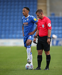 Cohen Bramall of Colchester United stands over a free kick - Mandatory by-line: Arron Gent/JMP - 18/06/2020 - FOOTBALL - JobServe Community Stadium - Colchester, England - Colchester United v Exeter City - Sky Bet League Two Play-off 1st Leg