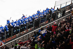 Slovenia celebrates goal during OI pre-qualifications of Group G between Slovenia men's national ice hockey team and Japan men's national ice hockey team, on February 9, 2020 in Ice Arena Podmezakla, Jesenice, Slovenia. Photo by Peter Podobnik / Sportida