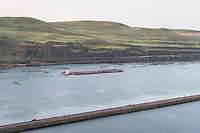 Barge on Columbia River near The Dalles Oregon