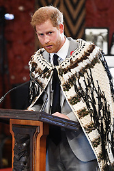 The Duke of Sussex makes a speech during a visit to Te Papaiouru, Ohinemutu, in Rotorua, before a lunch in honour of Harry and Meghan, on day four of the royal couple's tour of New Zealand.