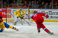KELOWNA, BC - DECEMBER 18:  Adam Åhman # 1 of Team Sweden makes a save on a shot by Evgeny Kanitskiy #11 of Team Russia at Prospera Place on December 18, 2018 in Kelowna, Canada. (Photo by Marissa Baecker/Getty Images)***Local Caption***
