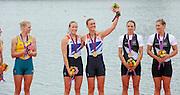 Eton Dorney, Windsor, Great Britain,..2012 London Olympic Regatta, Dorney Lake. Eton Rowing Centre, Berkshire[ Rowing]...Description;   Women's Pair, medals presentation  .Gold Medalist and Centre. GBR W2- Helen GLOVER (b) , Heather STANNING (s).Silver Medalist and Left. AUS.W2- Kate HORNSEY (b) , Sarah TAIT (s).Bronze Medalist and right.  NZL W2- Juliette HAIGH (b) , Rebecca SCOWN (s)  Dorney Lake. 12:27:10  Wednesday  01/08/2012.  [Mandatory Credit: Peter Spurrier/Intersport Images].Dorney Lake, Eton, Great Britain...Venue, Rowing, 2012 London Olympic Regatta...