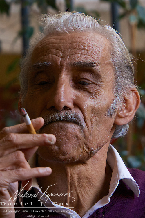 Italian man smoking a cigarette. Sorrento, Italy