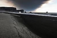 Ashfall from Volcano Eyjafjallajökull on Dyrhólaey beach, South Iceland.