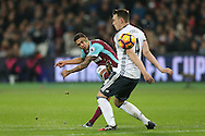 Manuel Lanzini of West Ham United takes a shot past Phil Jones of Manchester United. Premier league match, West Ham Utd v Manchester Utd at the London Stadium, Queen Elizabeth Olympic Park in London on Monday 2nd January 2017.<br /> pic by John Patrick Fletcher, Andrew Orchard sports photography.