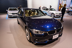 NEW YORK, USA - MARCH 23, 2016: BMW 328i on display during the New York International Auto Show at the Jacob Javits Center.