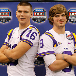 January 6, 2012; New Orleans, LA, USA; LSU Tigers quarterback Zach Mettenberger (8) and quarterback Stephen Rivers (16) pose for a photo during Media Day for the 2012 BCS National Championship game to be played on January 9, 2012 against the Alabama Crimson Tide at the Mercedes-Benz Superdome.  Mandatory Credit: Derick E. Hingle-US PRESSWIRE