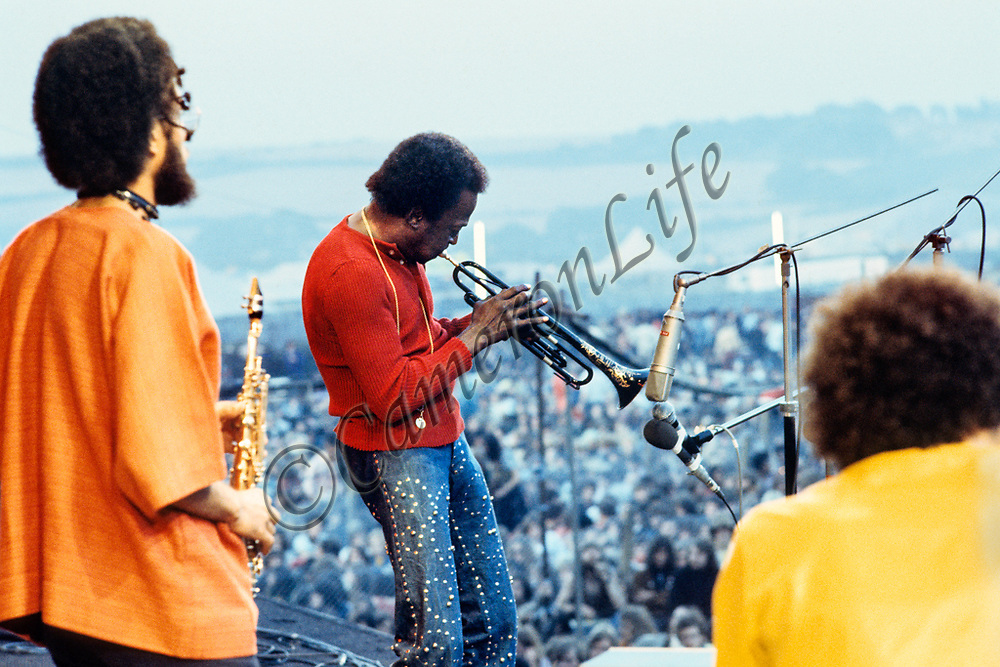 """Miles Davis, Chick Corea and Gary Bartz - 1970 Isle of Wight Music Festival (displayed as a 18x12"""" print in the exhibition)"""