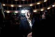 "Matteo Renzi arrives at theater Argentina for the presentation of the book ""Basta Piangere."" Rome, 26  November 2013. Christian Mantuano / OneShot"