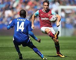 Mark Noble of West Ham United (R) in action - Mandatory by-line: Jack Phillips/JMP - 17/04/2016 - FOOTBALL - King Power Stadium - Leicester, England - Leicester City v West Ham United - Barclays Premier League