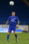Lee Tomlin of Cardiff city in action. Carabao Cup 2nd round match, Cardiff city v Burton Albion at the Cardiff City Stadium in Cardiff, South Wales on Tuesday 22nd August  2017.<br /> pic by Andrew Orchard, Andrew Orchard sports photography.