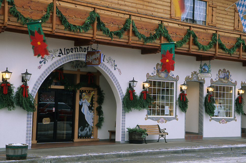 North America, USA, Washington, Leavenworth. Bavarian-style architecture on Front Street during Christmas festival