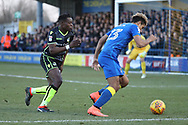 AFC Wimbledon striker Lyle Taylor (33) dribbling and driving into the box during the EFL Sky Bet League 1 match between AFC Wimbledon and Bristol Rovers at the Cherry Red Records Stadium, Kingston, England on 17 February 2018. Picture by Matthew Redman.