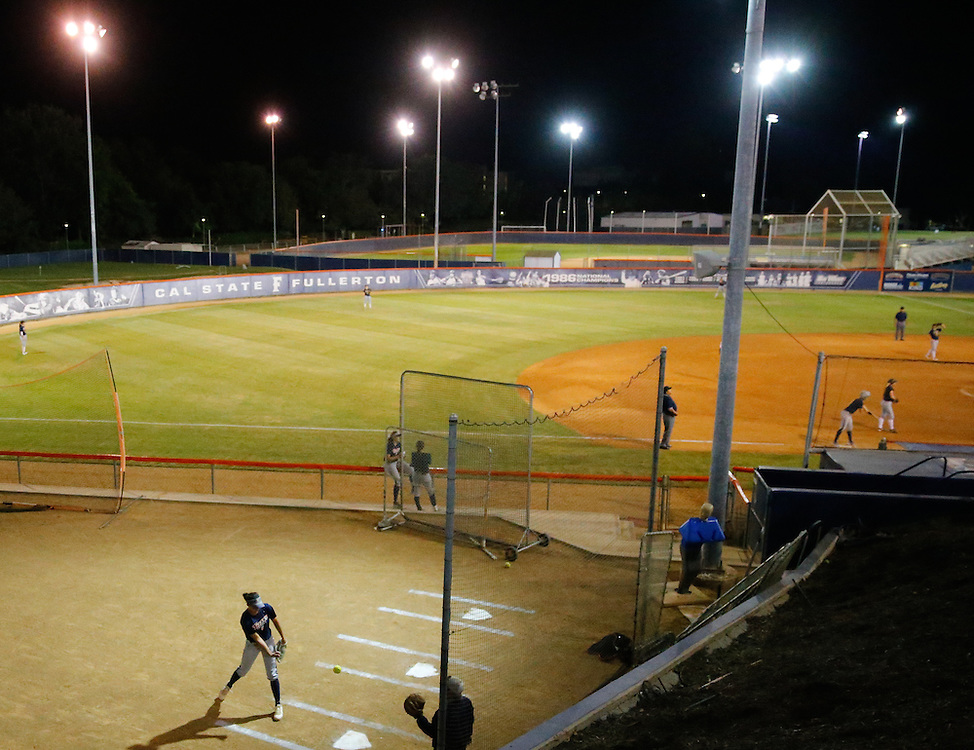 11/4/16 7:30:39 PM- Softball match between Cal State Fullerton and Vanguard College in Fullerton, CA<br /> <br /> Photo by Chris M. Leung/Sports Shooter Academy