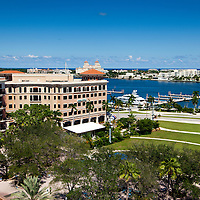 Architectural mix of retail, commercial office space and residential in downtown West Palm Beach, Florida.  Where Clematis Street meets the intracoastal waterway.  Flagler Park can be see in some of the images.