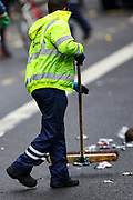 London, United Kingdom, June 27, 2021: Cleaners are seen sweeping whitehall and parliament street as thousands of youth attended in an anti-government musical rave in central London with police dispersing the crowds on Sunday, June 27, 2021. (VX Photo/ Vudi Xhymshiti)