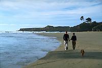 Couple walking dog on Big River beach near Mendocino California
