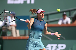 March 7, 2019 - Indian Wells, CA, U.S. - INDIAN WELLS, CA - MARCH 07: Andrea Petkovic (GER) hits a forehand during the BNP Paribas Open on March 7, 2019 at Indian Wells Tennis Garden in Indian Wells, CA. (Photo by George Walker/Icon Sportswire) (Credit Image: © George Walker/Icon SMI via ZUMA Press)