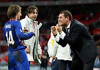 Photo: Richard Lane/Sportsbeat Images.<br />England v Croatia. UEFA European Championships Qualifying. 21/11/2007. <br />Croatia's manager, Slaven Bilic (rt) celebrates victory.