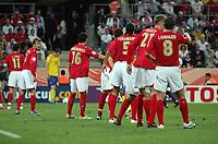 Photo: Chris Ratcliffe.<br /> Sweden v England. FIFA World Cup 2006. 20/06/2006.<br /> David Beckham of England (far left) marshalls the troops.