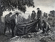 Burke and Wills Expedition to explore interior of Australia, 1860-1861. Burying Will's body.