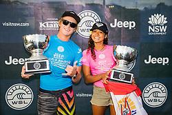 Finn McGill of Hawaii and Vahine Fierro of Polynesia win the 2018 World Junior Championship in the final at Kiama, NSW, Australia.