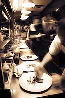 The fast paced kitchen of Restaurant Eighteen.