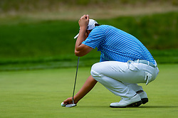 May 19, 2019 - Farmingdale, NY, U.S. - FARMINGDALE, NY - MAY 19:  Danny Lee of Japan lines up his putt on the sixth green during Round 4 of the PGA Championship Tournament on May 19, 2019, at Bethpage State Park in Farmingdale, NY (Photo by John Jones/Icon Sportswire) (Credit Image: © John Jones/Icon SMI via ZUMA Press)