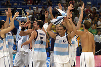 27/08/04 - ATHENS  - GREECE -  - BASKETBALL SEMIFINAL MATCH   - Indoor Olympic Stadium - <br />ARGENTINA win (89) over USA United States of America (81) <br />Argnetine celebration aftger the match N*5 EMANUEL GINOBILI and N*6 ALEJANDRO MONTECCHIA.<br />© Gabriel Piko / Argenpress.com / Piko-Press