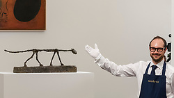 © Licensed to London News Pictures. 19/06/2018. LONDON, UK. ''Le Chat'' by Alberto Giacometti, (Est. £10,000,000) sold for a hammer price of £11,000,000 at Sotheby's Impressionist & Modern art evening sale in New Bond Street.  Photo credit: Stephen Chung/LNP