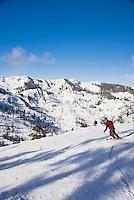 Skiing a 'bluebird' day at Alpine Meadows, Lake Tahoe, California