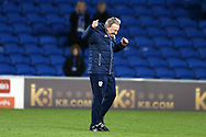 Neil Warnock, the Cardiff city manager shows his delightt and celebrates at end of match which his team won 3-1.  EFL Skybet championship match, Cardiff city v Norwich city at the Cardiff city stadium in Cardiff, South Wales on Friday 1st December 2017.<br /> pic by Andrew Orchard, Andrew Orchard sports photography.