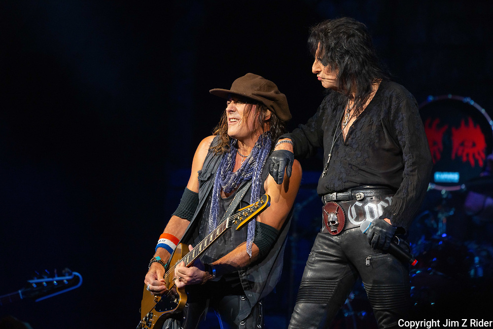 After nearly 19 months off stage, Rock and Roll legend ALICE COOPER (right), 73, launches his fall 2021 tour at Ocean Casino Resort in Atlantic City, New Jersey. Guitarist RYAN ROXIE is at left.