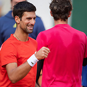 PARIS, FRANCE September 26.  Novak Djokovic of Serbia  after a practice match against Dominic Thiem of Austria on Court Philippe-Chatrier in preparation for the 2020 French Open Tennis Tournament at Roland Garros on September 26th 2020 in Paris, France. (Photo by Tim Clayton/Corbis via Getty Images)