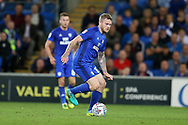 Aron Gunnarsson of Cardiff City in action. EFL Skybet championship match, Cardiff city v Sheffield Utd at the Cardiff City Stadium in Cardiff, South Wales on Tuesday 15th August 2017.<br /> pic by Andrew Orchard, Andrew Orchard sports photography.