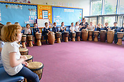 Ghanaian music group, Indigenous People leading a drumming and dance workshop at Greenlaw PS. The group was funded under the Youth Music Initiative programme.