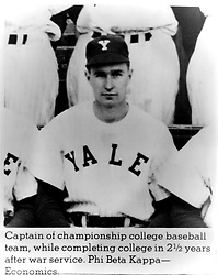 New Haven, Connecticut - Undated file photo -- Future United States President George H.W. Bush as captain of the Yale University varsity baseball team. He pursued a degree in economics and graduated Phi Beta Kappa in 1948. Photo by White House via CNP/ABACAPRESS.COM