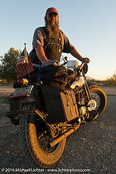 Dave Kafton with his 1925 Harley-Davidson JD after Stage 11 (289 miles) of the Motorcycle Cannonball Cross-Country Endurance Run, which on this day ran from Grand Junction, CO to Springville, UT., USA. Tuesday, September 16, 2014.  Photography ©2014 Michael Lichter.