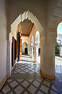 Berber Arabesque courtyard of the Petite Court, Bahia Palace, Marrakesh, Morroco .<br /> <br /> Visit our MOROCCO HISTORIC PLAXES PHOTO COLLECTIONS for more   photos  to download or buy as prints https://funkystock.photoshelter.com/gallery-collection/Morocco-Pictures-Photos-and-Images/C0000ds6t1_cvhPo<br /> .<br /> <br /> Visit our ISLAMIC HISTORICAL PLACES PHOTO COLLECTIONS for more photos to download or buy as wall art prints https://funkystock.photoshelter.com/gallery-collection/Islam-Islamic-Historic-Places-Architecture-Pictures-Images-of/C0000n7SGOHt9XWI
