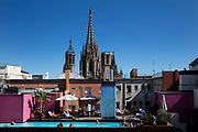 Hotel Barcelona Cathedral rooftop swimming Pool on 4th July 2016, in front of the Barcelona Cathedral, Spain.