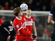 Patrick Bamford of Middlesbrough balances the ball on his forehead during the EFL Sky Bet Championship match between Middlesbrough and Leeds United at the Riverside Stadium, Middlesbrough, England on 2 March 2018. Picture by Paul Thompson.