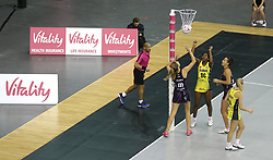 A general view of Manchester Thunder vin action against benecosMavericks during the Vitality Netball Superleague Super Ten match held at Arena Birmingham.