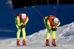 Gasper Berlot of SSK Velenje and Mitja Oranic of NSK Trzic - Trifix during cross country race for Slovenian National Nordic combined Championship, on January 5, 2011 at Rudno polje, Pokljuka, Slovenia. (Photo by Vid Ponikvar / Sportida.com)