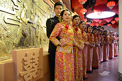 January 2, 2018 - Liaochen, Liaochen, China - Liaocheng, CHINA-2nd January 2018:(EDITORIAL USE ONLY. CHINA OUT) Young couples..Young couples hold a group wedding in Liaocheng, east China's Shandong Province, January 2nd, 2017. (Credit Image: © SIPA Asia via ZUMA Wire)